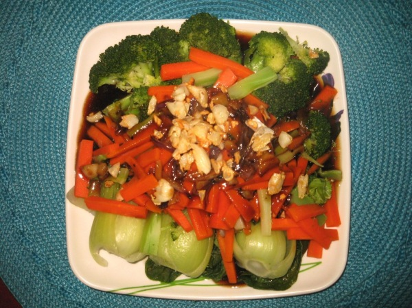 bok choi, carrots, broccoli in garlic oyster sauce