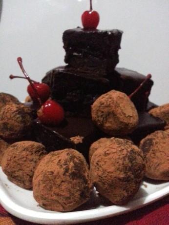 chocolate brownies, ganache, truffles